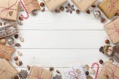 Украшение рождества и предпосылка подарочных коробок Стоковые Фото