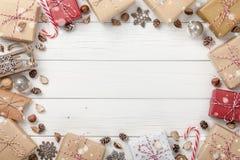 Украшение рождества и предпосылка подарочных коробок Стоковое Фото