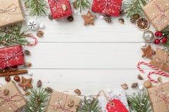 Украшение рождества и предпосылка подарочных коробок Стоковая Фотография RF