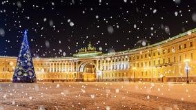Украшение рождества квадрата дворца в Санкт-Петербурге Стоковое Изображение
