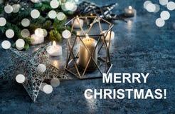 Украшение рождества миражирует предпосылку темноты белых светов Стоковые Фотографии RF
