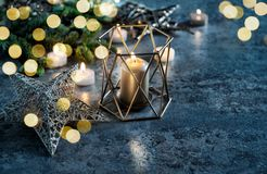 Украшение рождества миражирует предпосылку темноты светов Стоковые Изображения