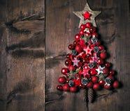 Украшение рождества над деревянной предпосылкой Украшения над древесиной Винтаж стоковое изображение