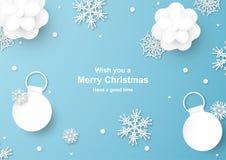 Украшение рождества на голубой предпосылке в отрезке бумаги и ремесле w стоковая фотография