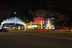 Украшение рождества на дороге сада Сингапур Стоковые Изображения