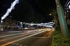 Украшение рождества на дороге сада Сингапур Стоковые Изображения RF
