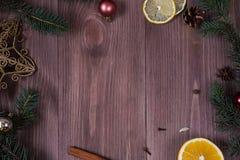 Украшение рождества на пустой деревянной предпосылке стоковое изображение