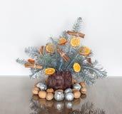 Украшение рождества с ветвями серебряной ели Стоковое фото RF