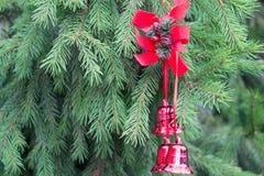 Украшение рождества с красными колоколами на пушистых елевых ветвях B Стоковое Изображение RF