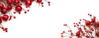 Украшение рождества с красными яблоками и ягодами Стоковое Изображение RF