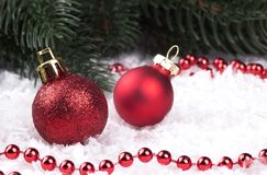 Украшение рождества с snowlakes и шариками рождества Стоковая Фотография RF