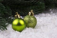 Украшение рождества с snowlakes и шариками рождества Стоковое фото RF