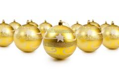 украшение рождества шариков золотистое Стоковое Изображение