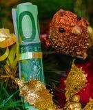 Украшение рождественской елки счетов евро стоковая фотография rf