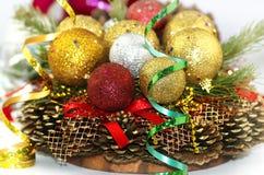 Украшение рождества, венок рождества и пузыри стоковые изображения