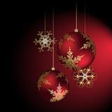Украшение рождества в красно- иллюстрации вектора Стоковые Фотографии RF