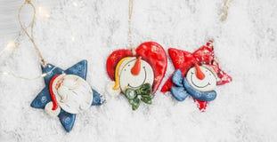 Украшение рождества 3 в снеге, Санте и снеговике Deco w Стоковое Изображение RF