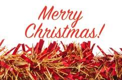 Украшение рождества, гирлянда на белой предпосылке с веселым Chr Стоковые Фотографии RF