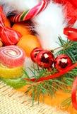Украшение рождества, десерт, хворостина сосны, безделушки рождества, Сан Стоковые Изображения
