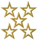 Украшение рождества звезды, золото Xmas сверкнает декоративный комплект Стоковое Изображение RF