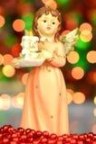 Украшение рождества, диаграмма ангела держа свечу Стоковые Изображения RF