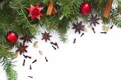 Украшение рождества и Нового Года изолированное на белизне Стоковые Изображения RF