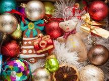 Украшение рождества и NewYear в коробке Стоковая Фотография RF