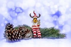 Украшение рождества на белой и голубой абстрактной предпосылке Стоковое Изображение RF