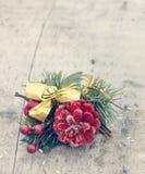 Украшение рождества на деревянной доске Стоковая Фотография