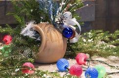 Украшение рождества на деревянной доске Стоковые Изображения