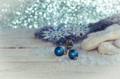 Украшение рождества на деревянной предпосылке. Стоковое Изображение RF