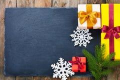 Украшение рождества над деревянной предпосылкой Стоковые Фото