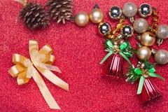 Украшение рождества на красной предпосылке Стоковая Фотография RF