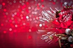 Украшение рождества на красной предпосылке bokeh Стоковое фото RF