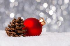 Украшение рождества на снежке Стоковая Фотография