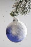 Украшение рождества, смертная казнь через повешение безделушки рождества от хворостины сосны Стоковая Фотография RF