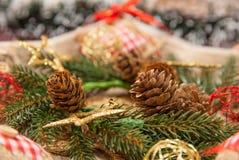 Украшение рождества с: Венок рождества, сосна разветвляет, конусы сосны, желтые звезды рождества яркого блеска Стоковое Фото