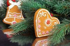 Украшение рождества с елью Стоковая Фотография
