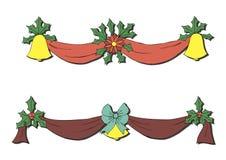Украшение рождества с колоколами и смычками Стоковое Фото