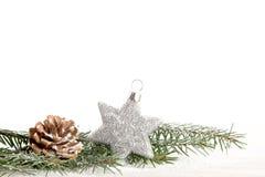 Украшение рождества с серебряной звездой Стоковые Фотографии RF