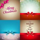 Украшение рождества установило - смычок ленты с bokeh Стоковые Изображения