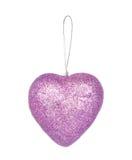 Украшение рождества, фиолетовое сердце изолированное на белизне Стоковые Фото