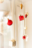 Украшение рождества, шарики, коробки, сердца Стоковое Изображение RF