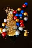Украшение рождества - шарики с ангелом и деревом Стоковое Изображение
