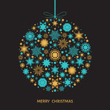 Украшение рождественской елки с снежинками золота и элементом Xmas Стоковое Изображение RF