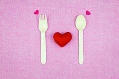 украшение романтичное, valentine& x27 St; концепция дня s, взгляд сверху fla Стоковая Фотография