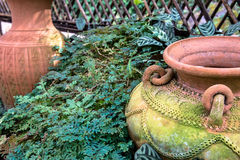 Украшение сада опарником гончарни, кувшином гончарни Стоковые Фотографии RF