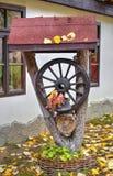 Украшение сада с деревянным колесом Стоковое Изображение RF