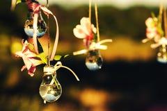 Украшение свадьбы от цветков и ламп заполнило с водой декада стоковая фотография