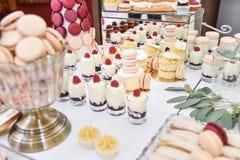 Украшение свадьбы с пастелью покрасило пирожные, меренги, булочки и macaroons Элегантное и роскошное расположение события стоковое изображение rf